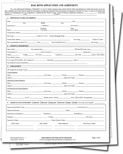 Bail Bond Application And Agreement Indemnitor Application And